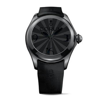 Matte black watch with black leather wristband