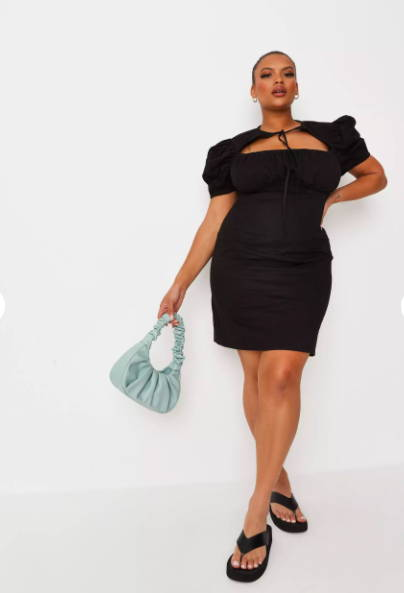 Classic black dress with puffed sleeves