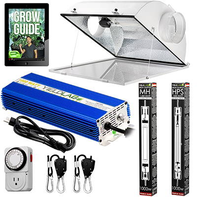 Yield Lab Pro Series 1000W HPS+MH Air Cool Hood Double Ended Complete Grow Light Kit