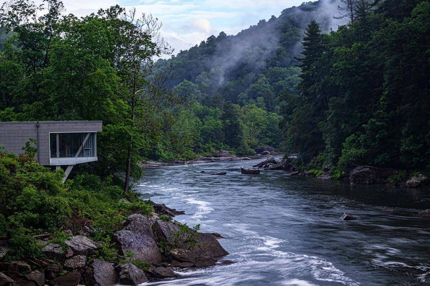 The Youghiogheny River and visitor center in Ohioplye State Park