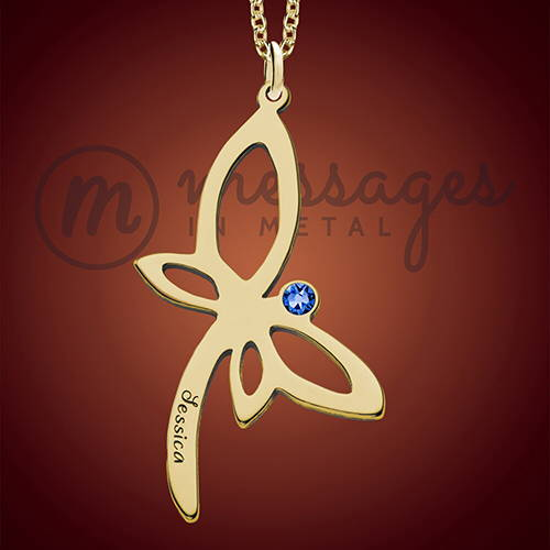 Dragonfly Gold Birthstone Pendant