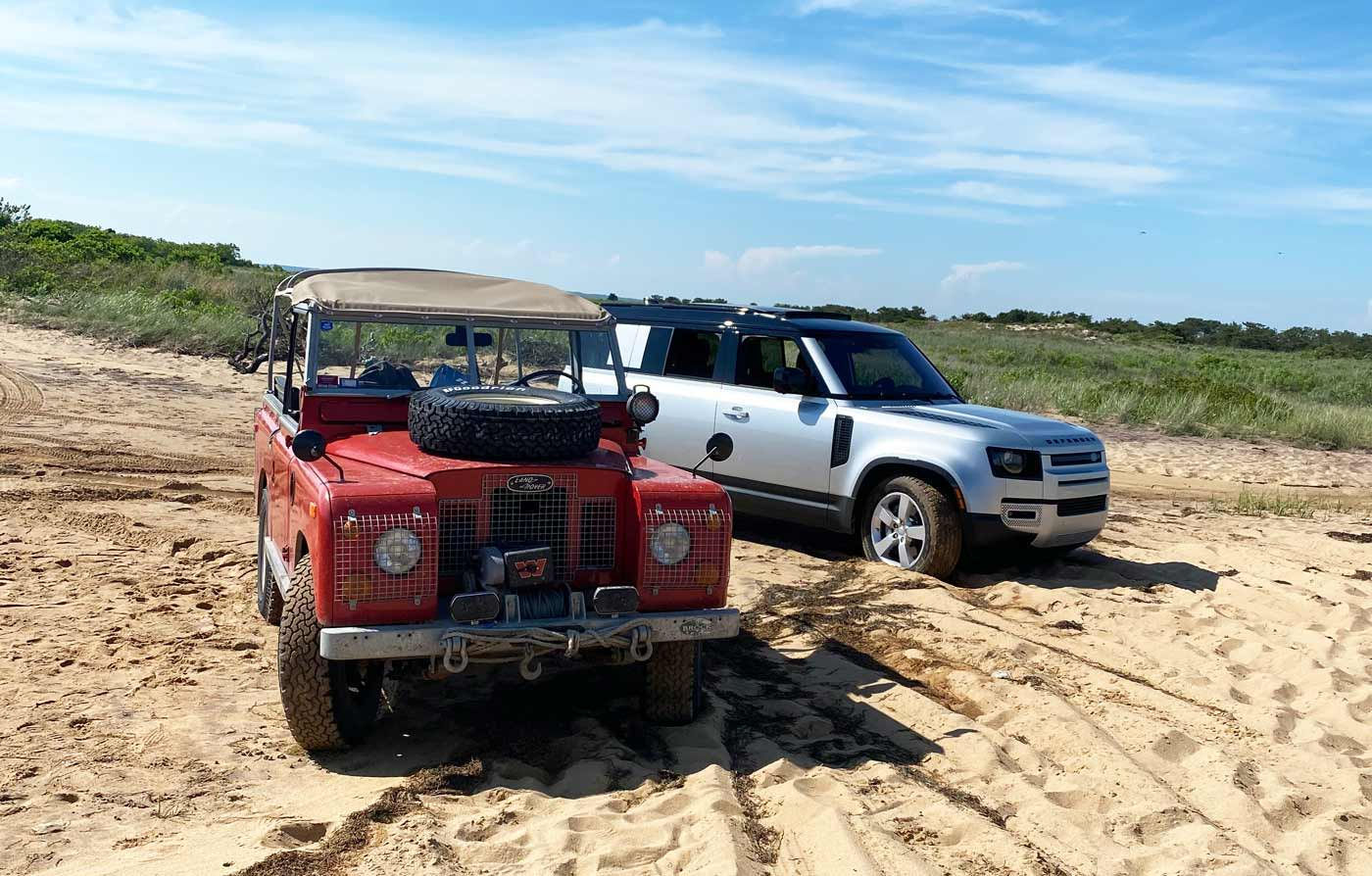 Land Rovers Driving Hamptons