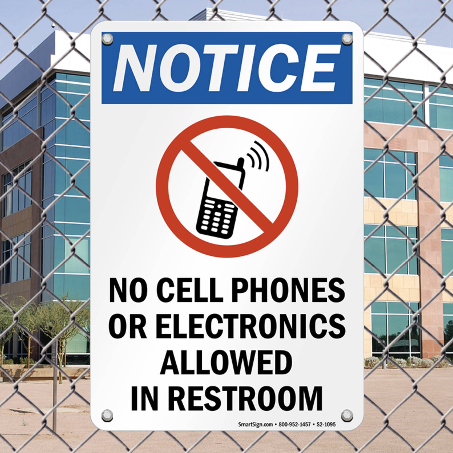 no cell phones or electronics allowed in restroom sign Mission Darkness faraday cage used to block signals in bathroom