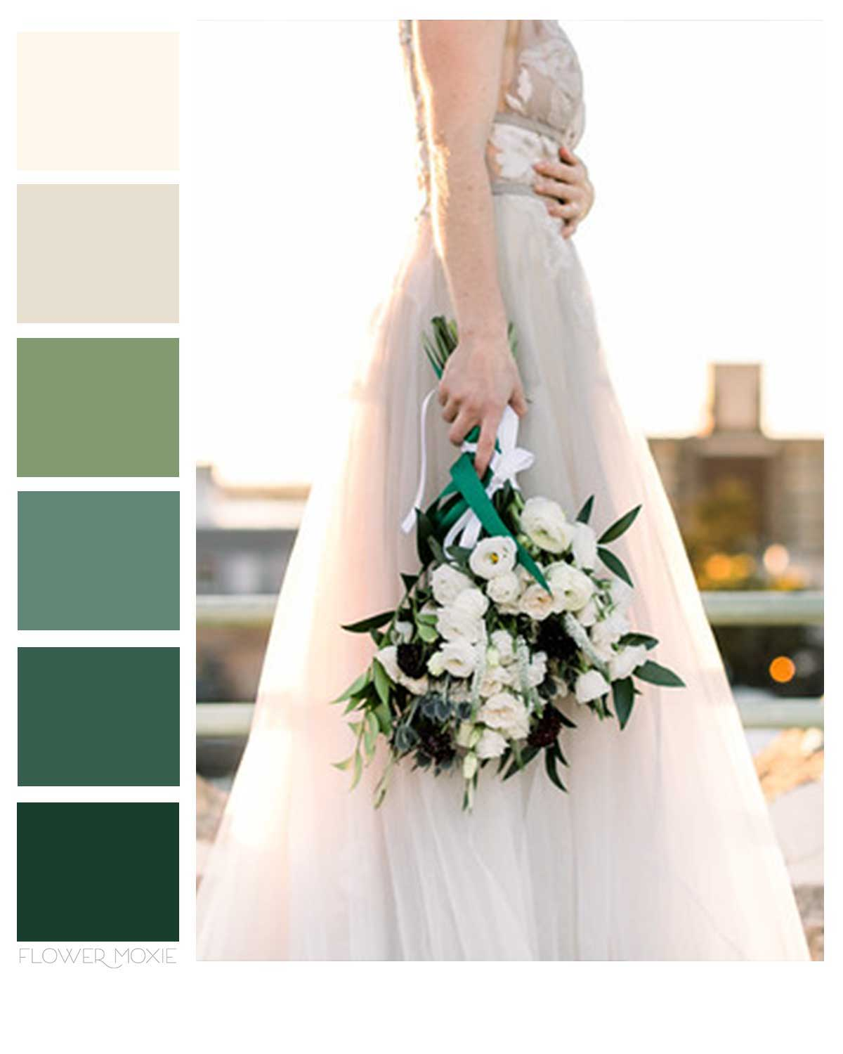 cream and green wedding flower packages