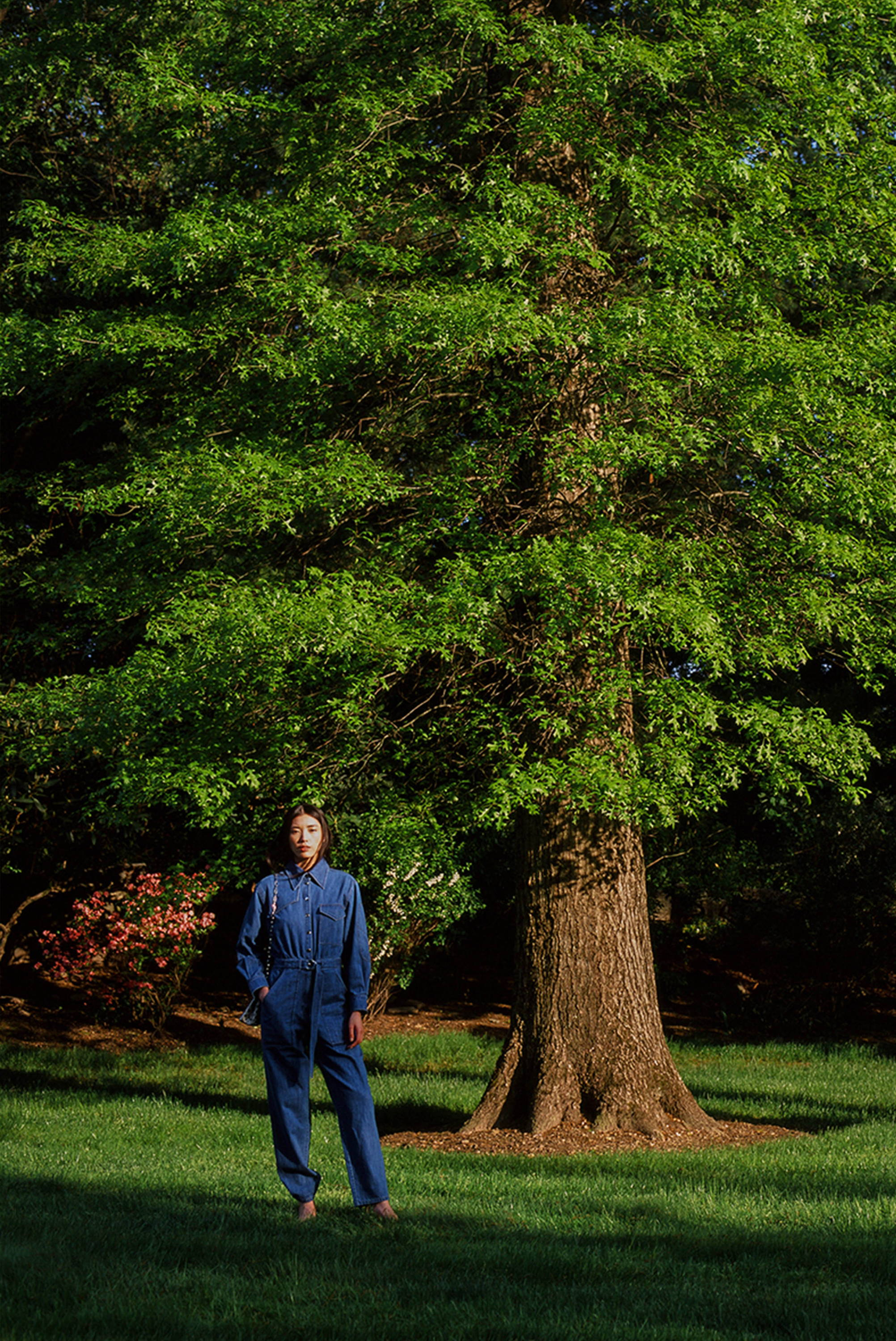 Model standing under tree wearing all denim outfit.