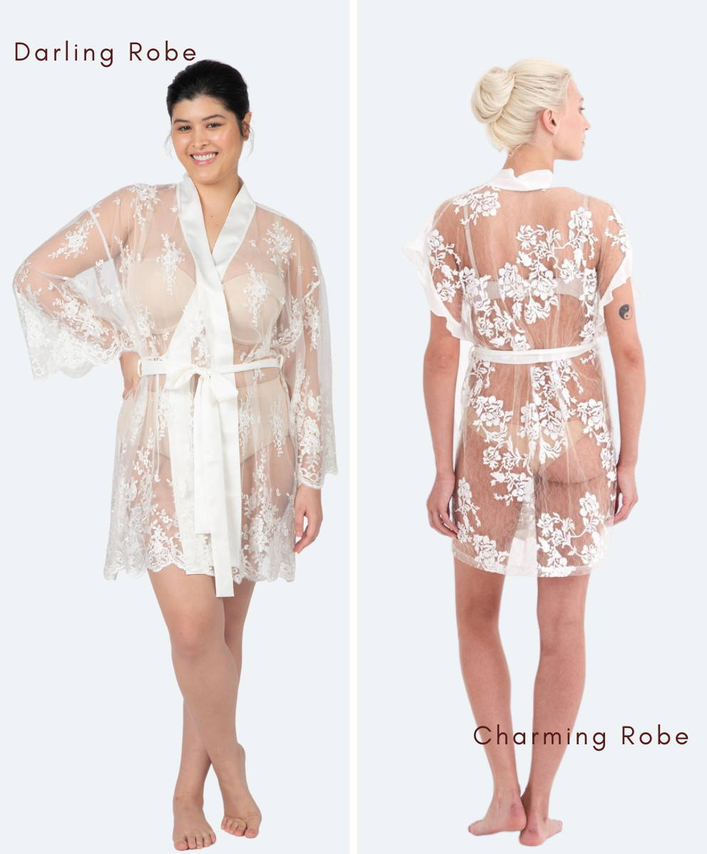 White Lace Robe Lingerie Bridal and Plus Size