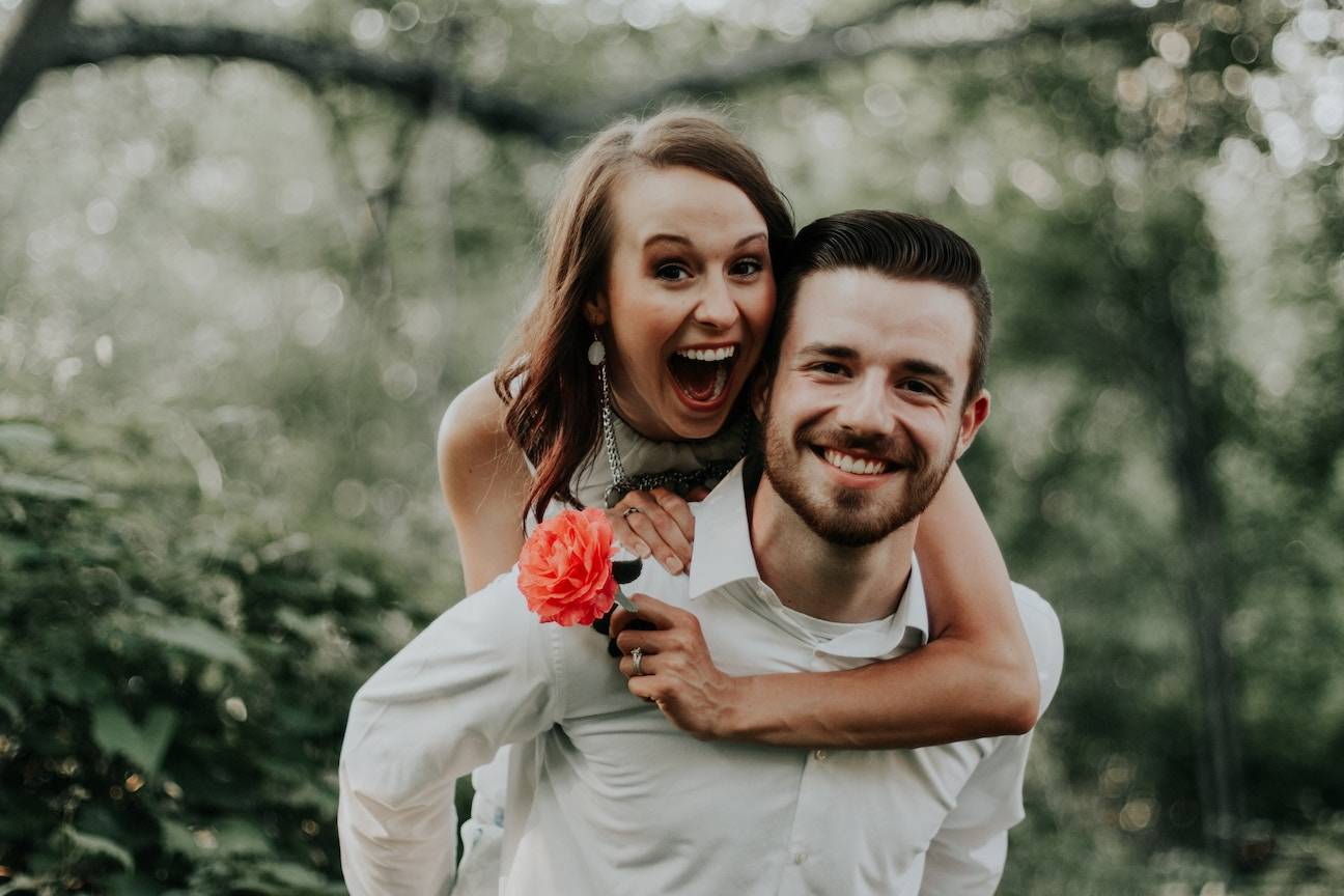 newly engaged happy couple