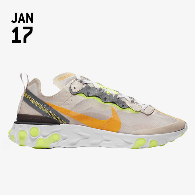 Nike React Element 87 Shoes in light beige with orange swoosh