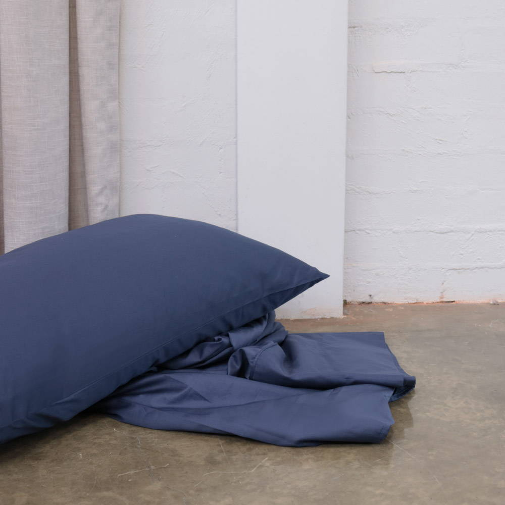 The Sheet Society Midnight Blue Long-Staple 100% Cotton Quilt Cover