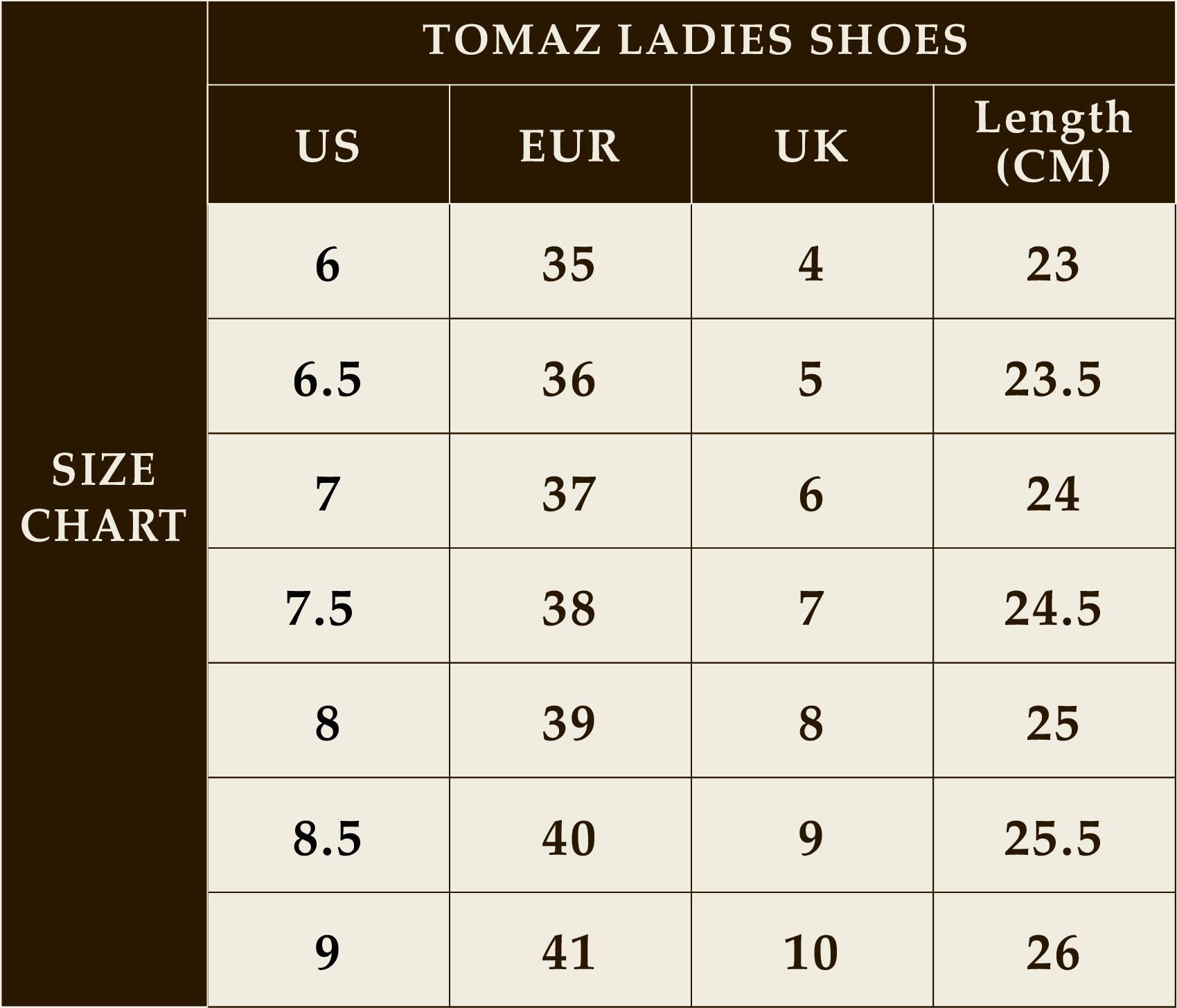 Tomaz Shoes Size Guide Tomaz Shoes