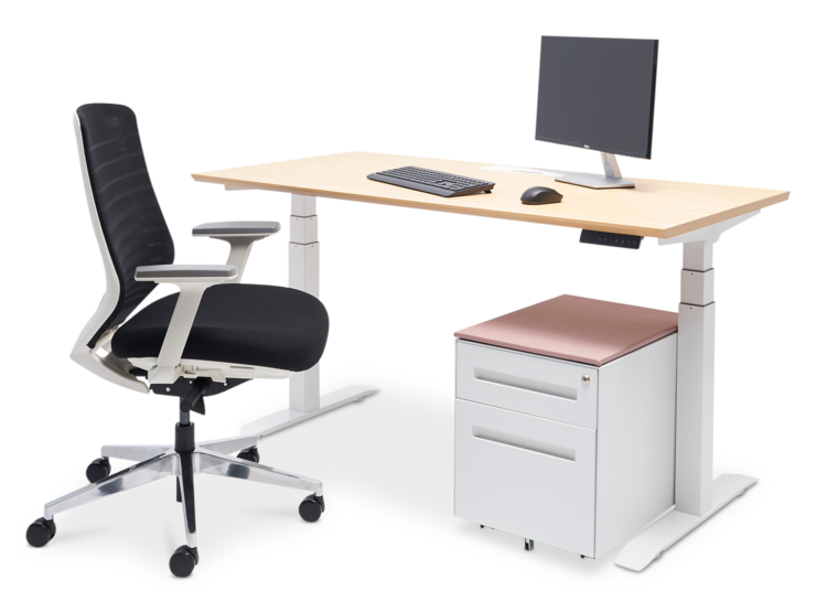 Bureau Standing Package - standing desk, ergonomic chair, and filing cabinet