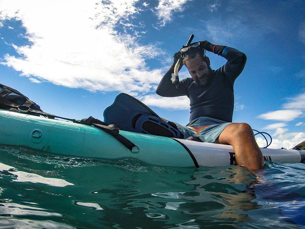 spearfishing from the Endurance infltable SUP pau hana