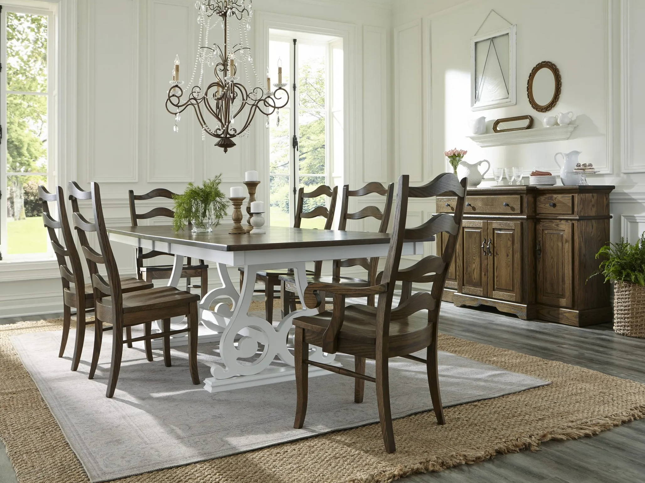 dining room scene with wood chairs around large table