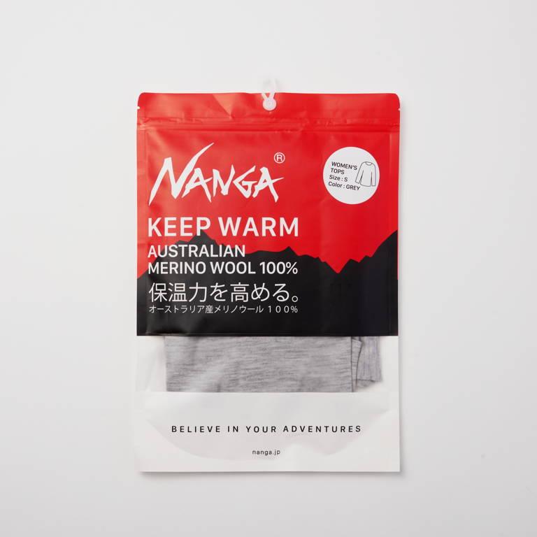 NANGA(ナンガ)/オリジナルメリノウール長袖 Uネック/グレー/WOMENS