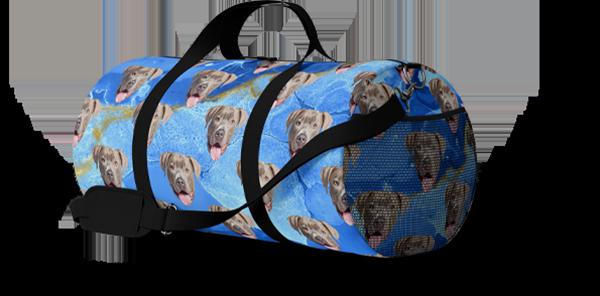 marble dog art duffle bag