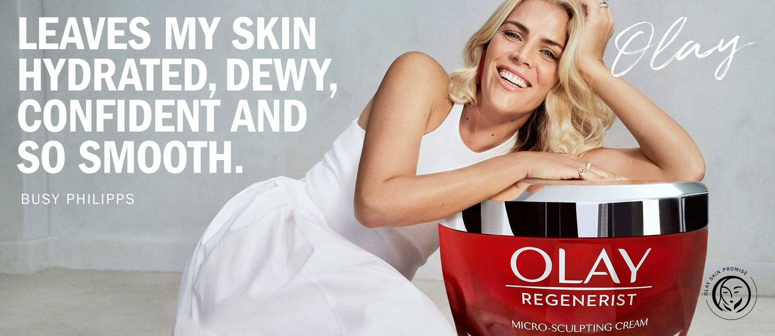 Home pAge Banner- Busy Philipps: Ola leaves m skin Hydrated, Dewy, confident and so Smooth.