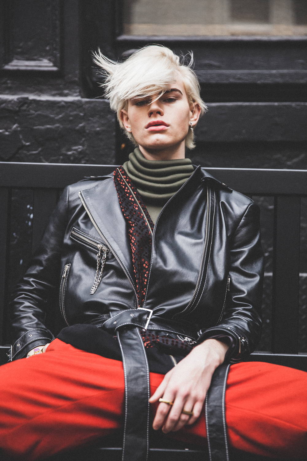 Flying Solo Independent Designers New York City Boutique Street Style Photo Shoot Editorial Black leather jacket