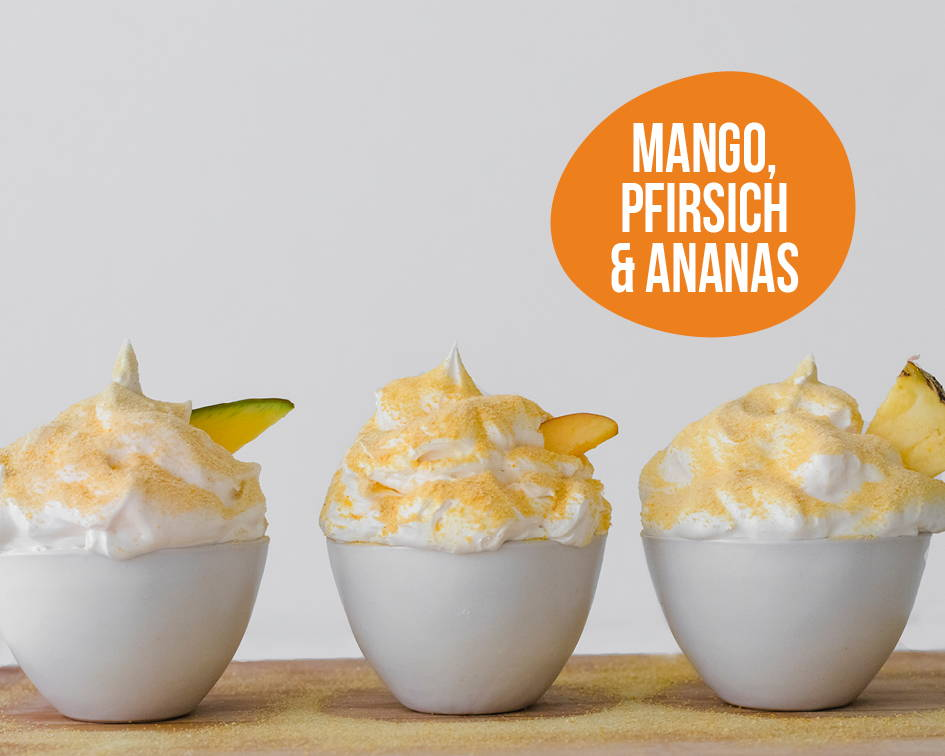 Pumperlgsund Eiweiß-Fluff Mango, Pfirsich, Ananas