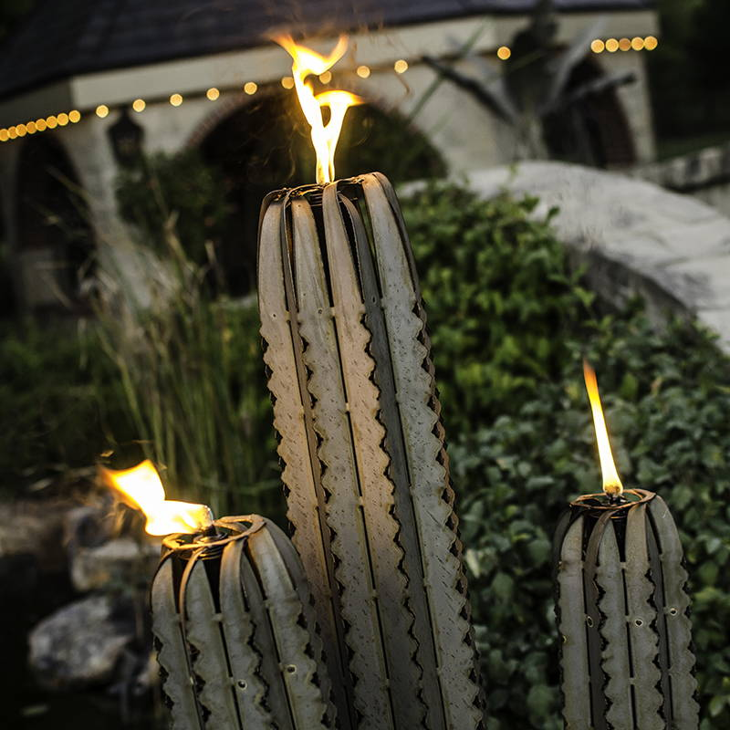 Steel Saguaro Torch with flame
