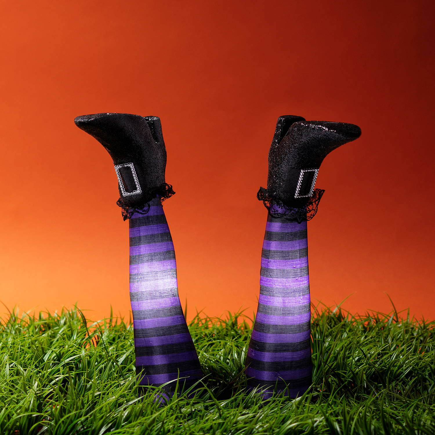 Halloween witch leg stake lights secured into the grass
