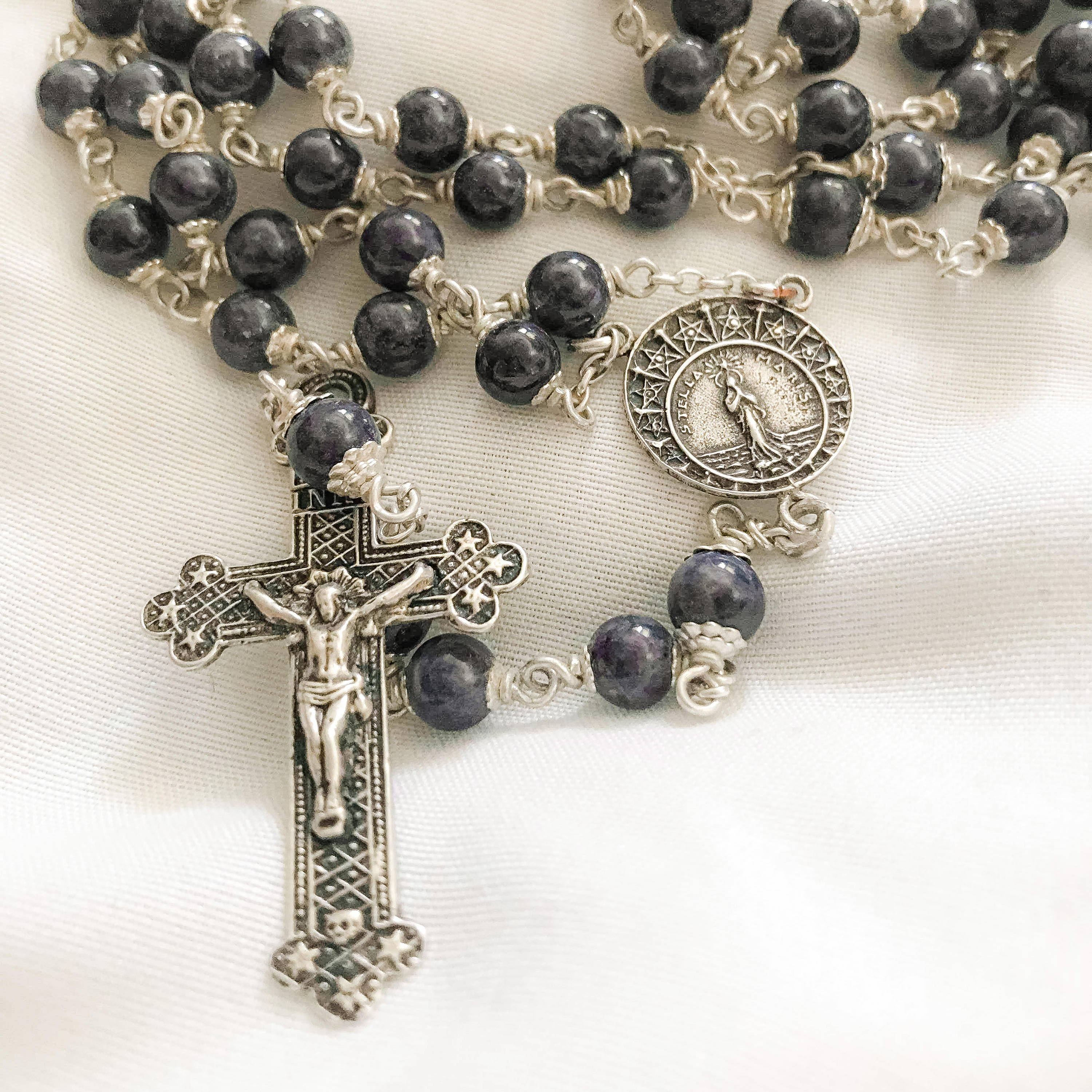 Sterling handmade rosary in Double-capped Sapphire by Jennifer Sinclair, owner of Miracoli Rosaries