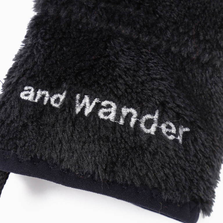 andwander(アンドワンダー)/ハイロフトフリース グローブ/ブラック/UNISEX