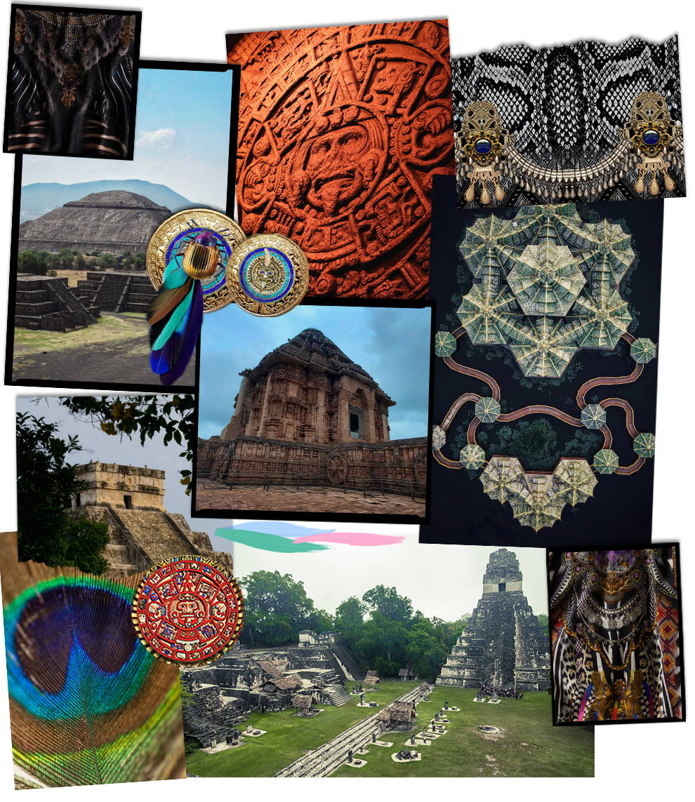 CAMILLA Print Inspiration, Array of images of Aztec temples and carvings, and feathers.