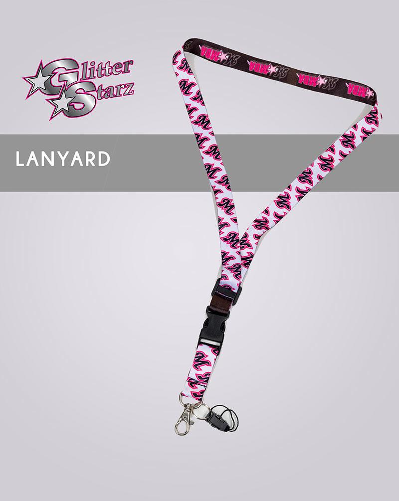 glitterstarz custom cheer dance lanyard sublimated team pink keys