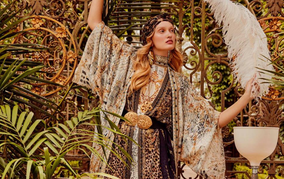 CAMILLA leopard layer, CAMILLA white and gold kimono, CAMILLA kimono,