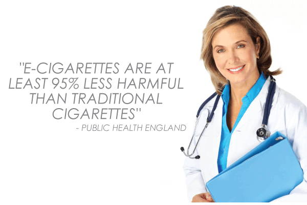 leading health experts now claim e-cigarettes are at least 95% less harmful than traditional tobacco