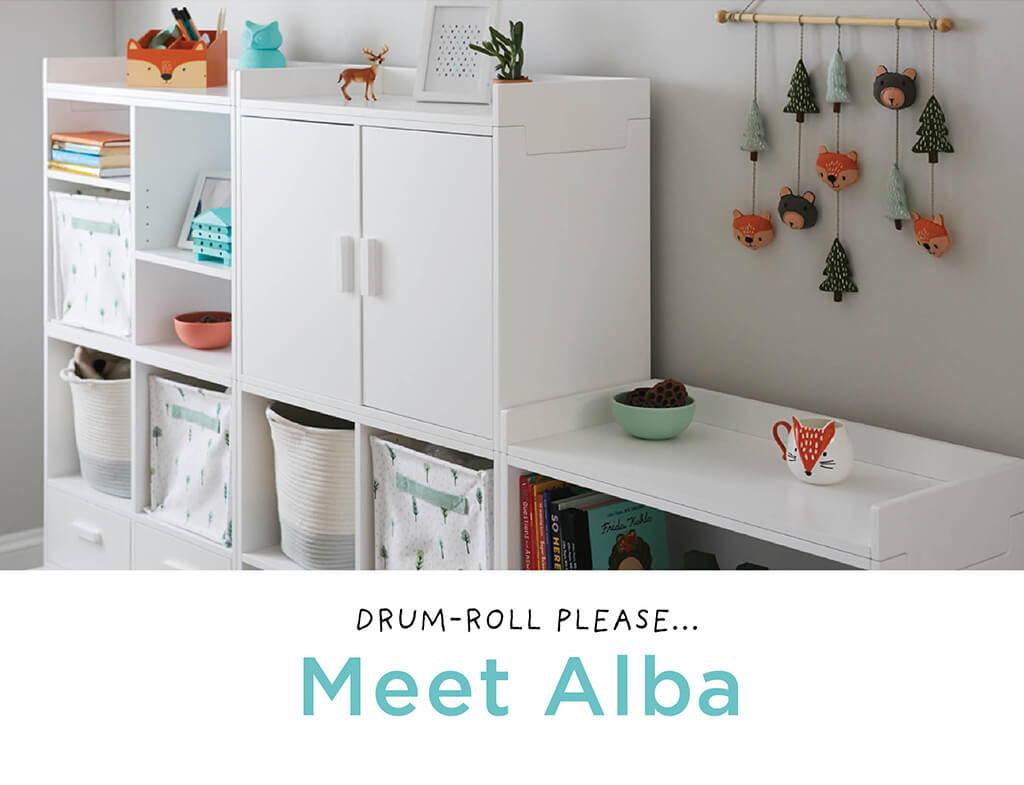 Drum-roll please... Meet Alba! Our playroom storage furniture.