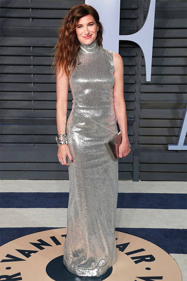Kathryn Hahn wears Galvan London Sequin High Collar Silver Dress