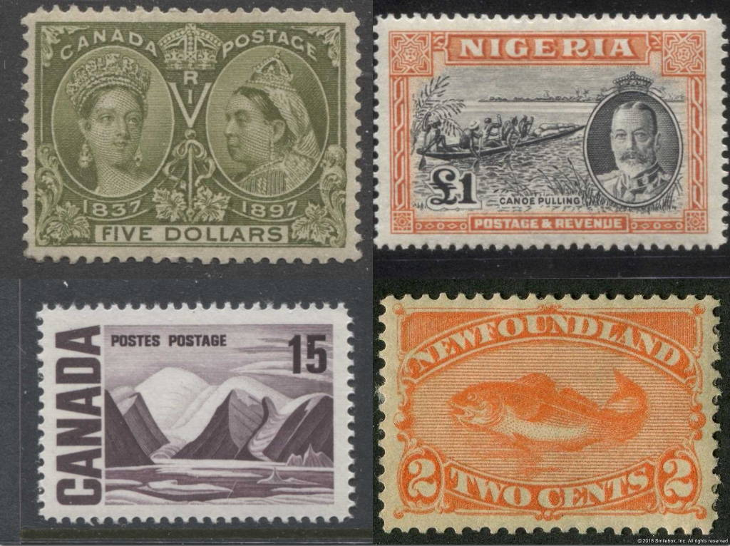 Classic stamps of Canada, Nigeria and Newfoundland