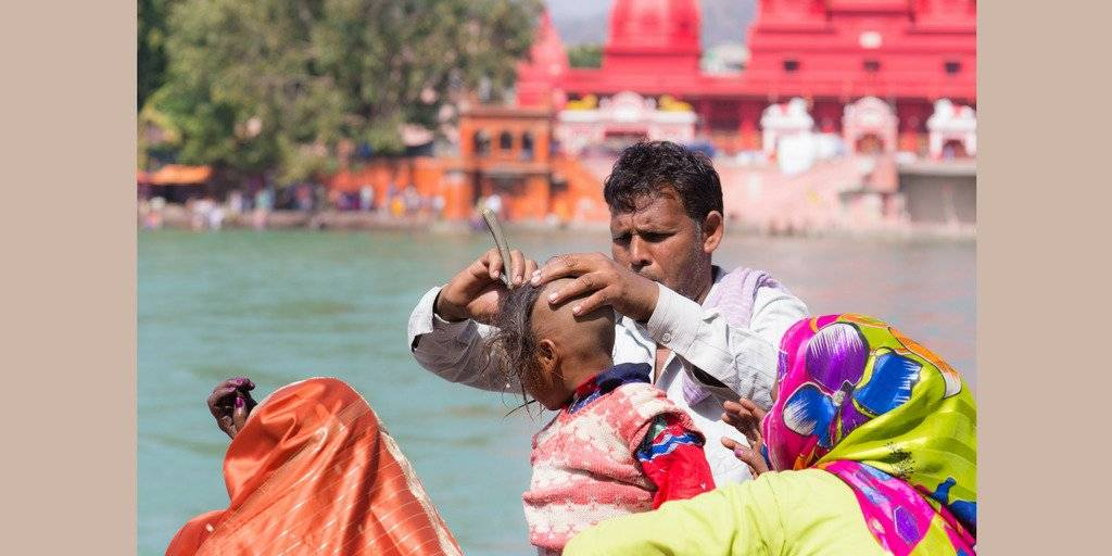 Shaving a Child's Head in India
