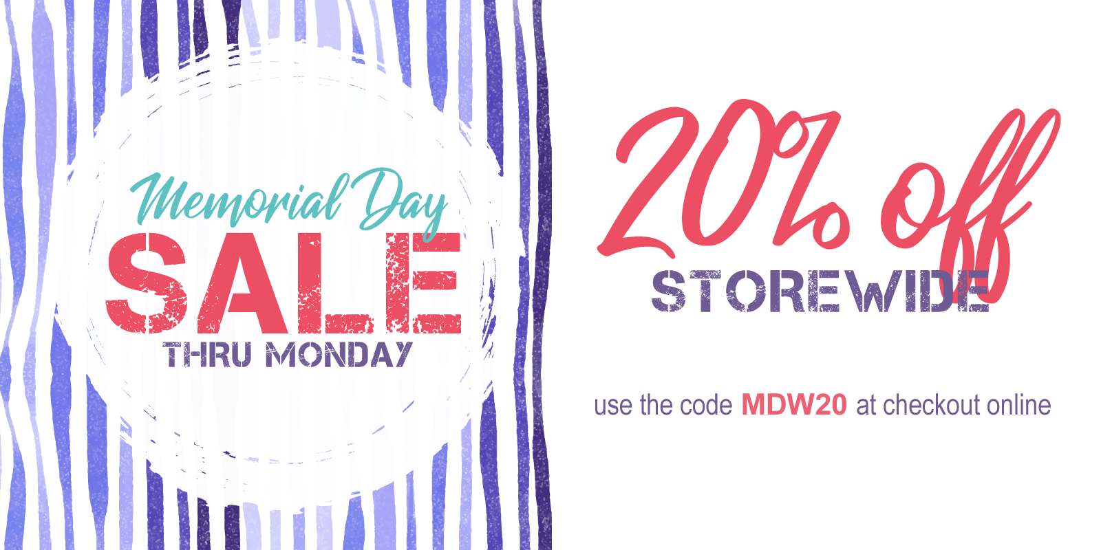 Use MDW20 at checkout for 20% off almost everything!