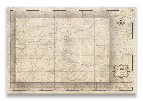 Colorado Push pin travel map rustic vintage