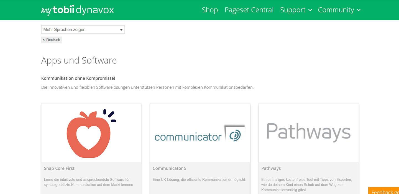 Managen Sie online Ihre Kommunikationsinhalte von TobiiDynavox