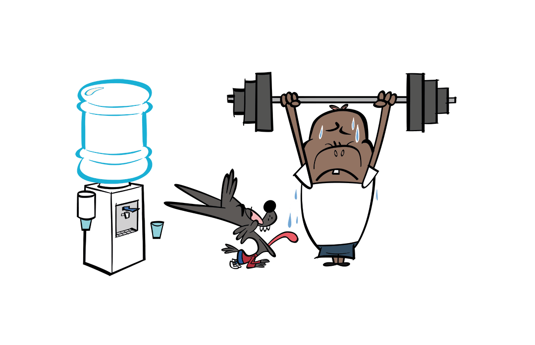 illustrated character lifting weights