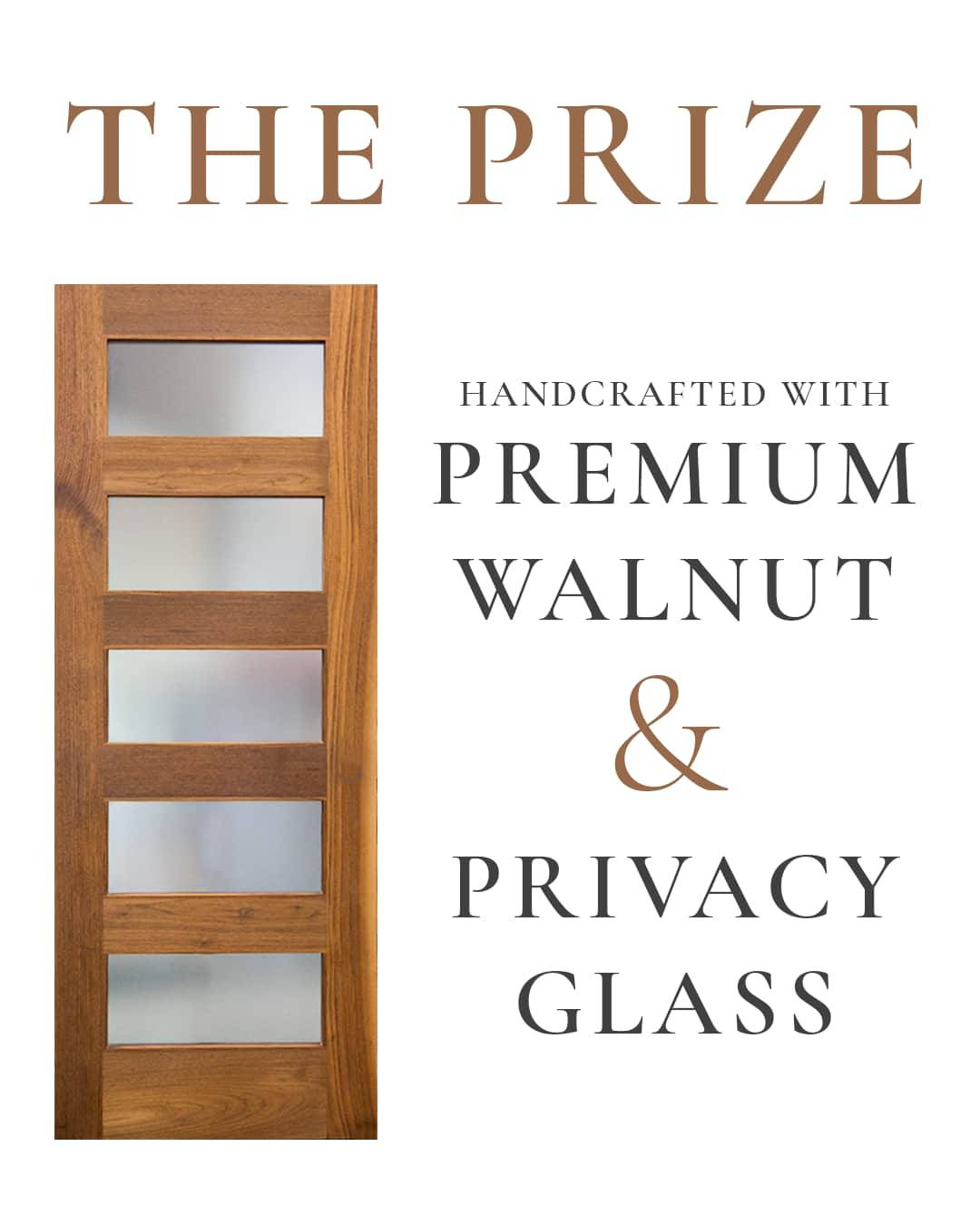 RealCraft Prize Details. Front view of the Modern Five Panel Glass Sliding barn door handcrafted with Premium Walnut wood and Crystal etched Glass.