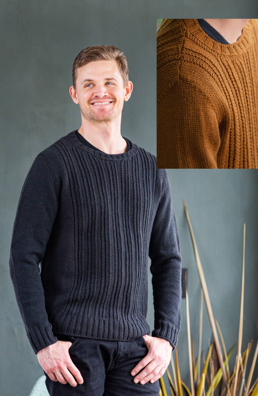 Image of Brian modeling Haskins in Porter with inset of Omar modeling Haskins in Burnished shoulder detail