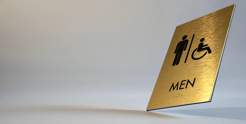 Gold Brushed Aluminum 'Men' Restroom ADA Sign