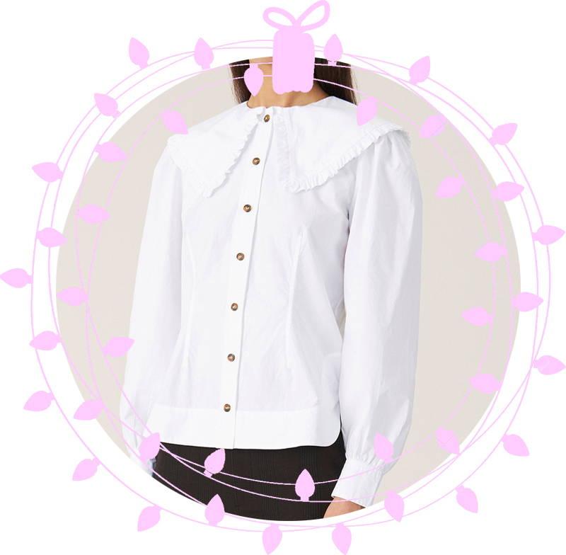 Ganni Cotton Poplin Shirt in Bright White