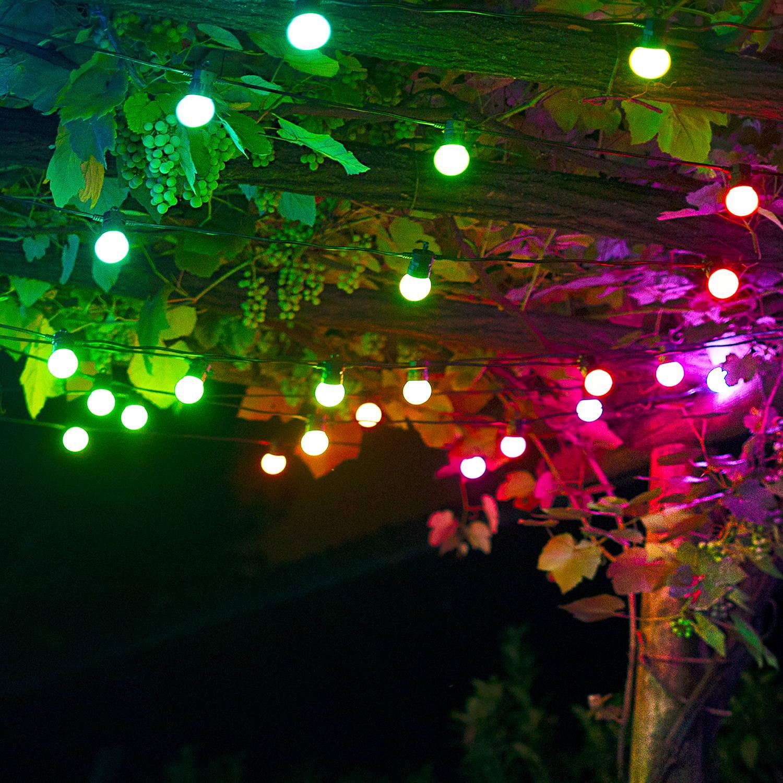Twinkly festoon lighting hung up above garden
