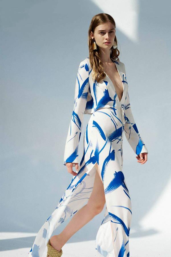 Galvan London Long Sleeves and Pluning Neckline Blue Maxi Dress