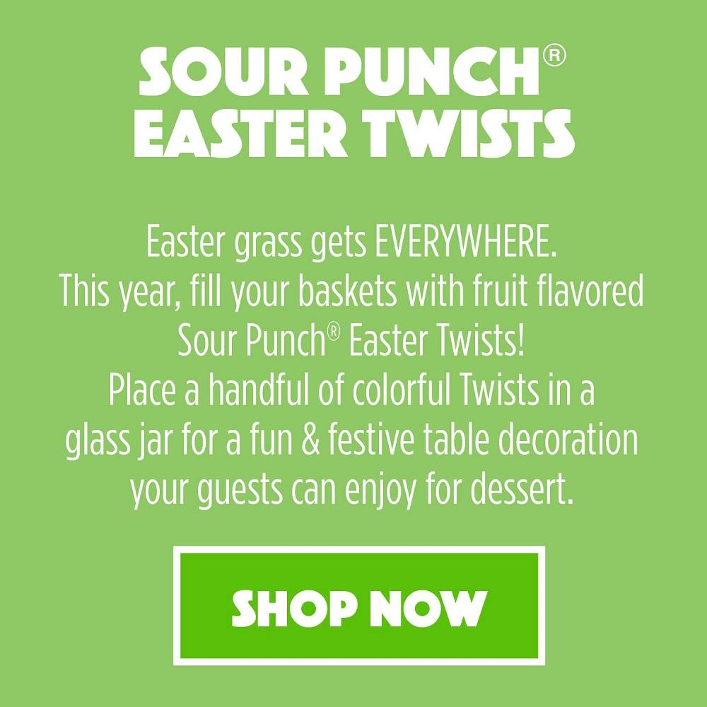 Fill your Easter baskets with colorful, flavorful Sour Punch Easter Twists! SHOP NOW