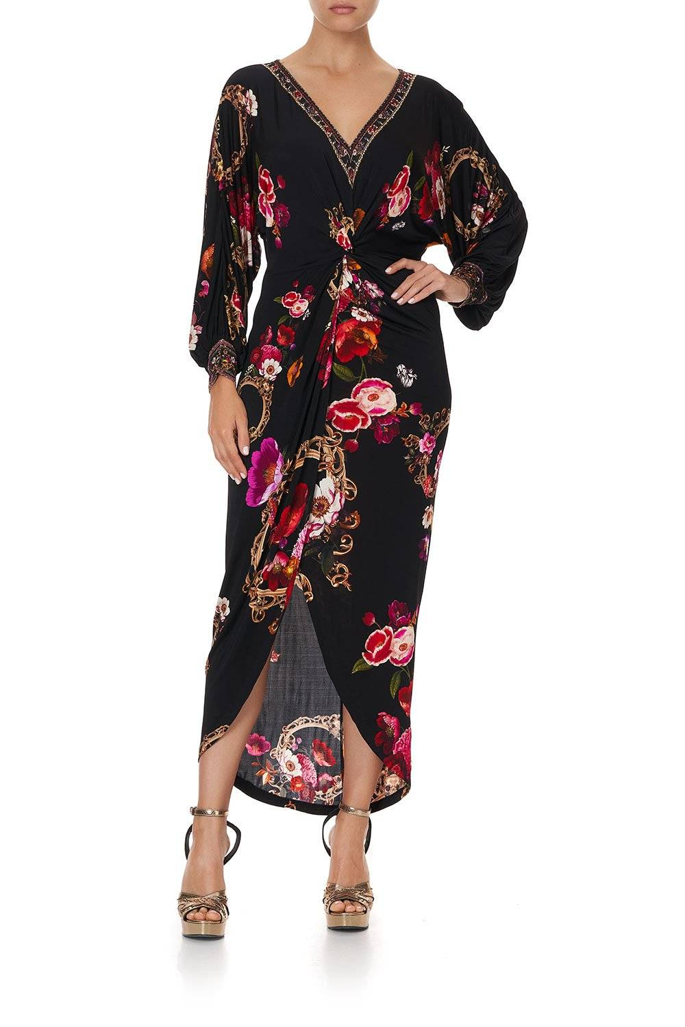 CAMILLA black midi dress with pink and red flowers.