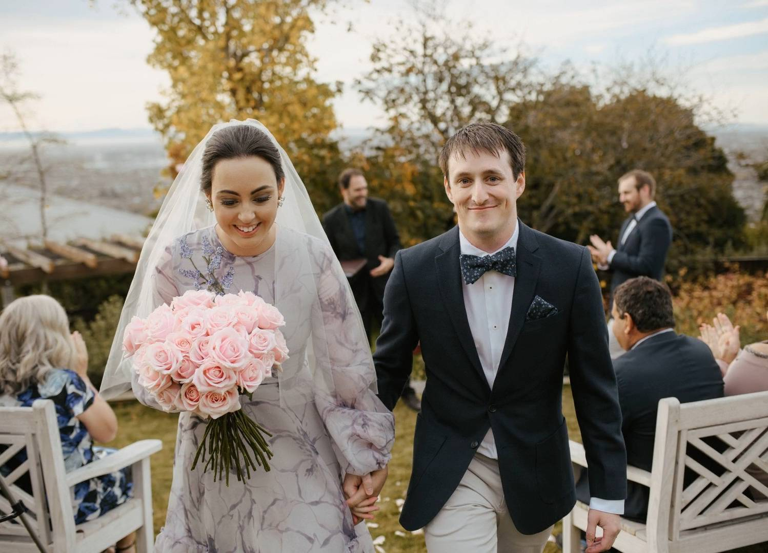 Bride and Groom Elopement at the Hackthorne Gardens