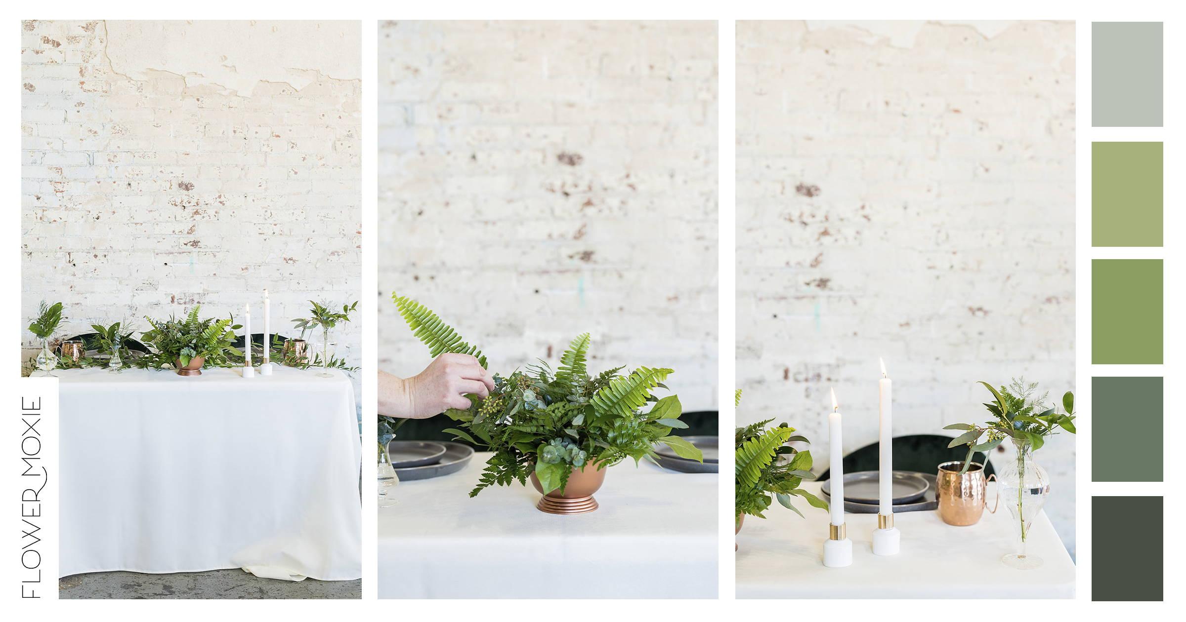 green wedding flower packages