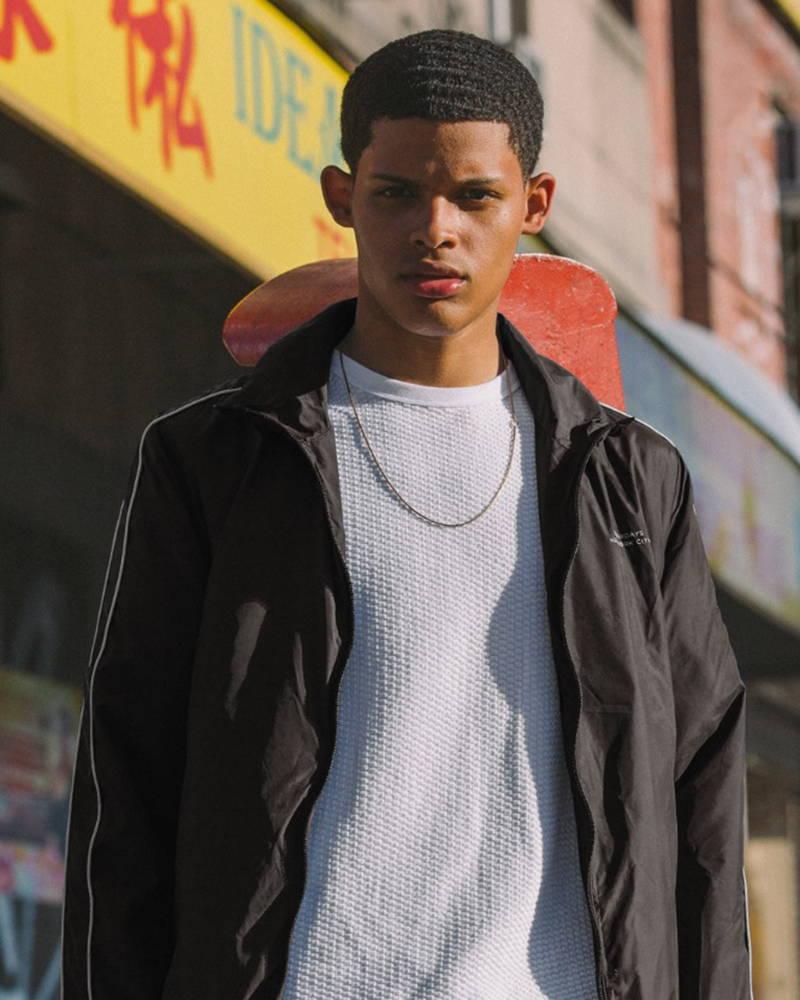 Saturdays NYC model in Everett Track Jacket