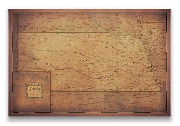 Nebraska Push pin travel map golden aged